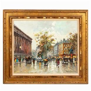 ANTOINE BLANCHARD PARISIAN STREET SCENE, FRAMED