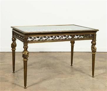 FRENCH LOUIS XVI SOLID BRONZE VITRINE TABLE
