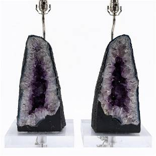 PAIR, CATHEDRAL AMETHYST GEODE TABLE LAMPS