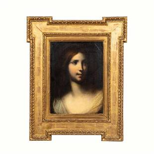 PORTRAIT OF LADY, TABERNACLE GILTWOOD FRAME
