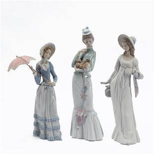 LLADRO, THREE PORCELAIN FIGURINES OF LADIES
