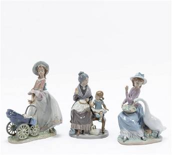 LLADRO, COLLECTION OF THREE PORCELAIN FIGURES