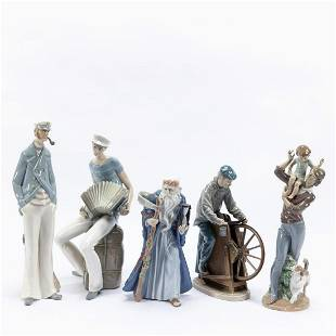 LLADRO, GROUP OF FIVE MALE PORCELAIN FIGURINES