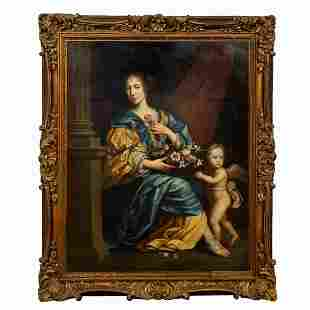 CONTINENTAL SCHOOL, PORTRAIT OF LADY WITH PUTTO