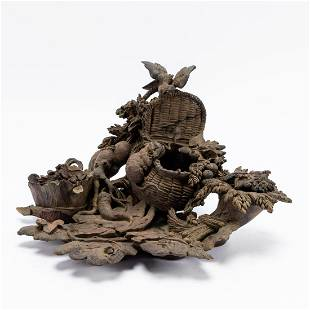 19TH/20TH C. BLACK FOREST FIGURAL CENTERPIECE