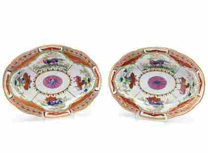 TWO, CHAMBERLAIN WORCESTER BENGAL TIGER PLATTERS