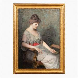 """LILLA CABOT PERRY, """"CONTEMPLATION"""", OIL ON CANVAS"""