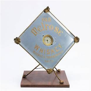 OLD MELROSE WHISKEY ADVERTISING SIGN CLOCK