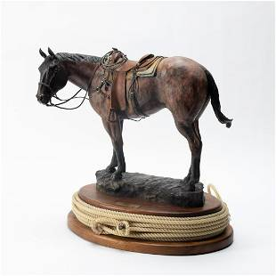 "MICHAEL THOMAS BRONZE ""ON DECK"" HORSE SCULPTURE"