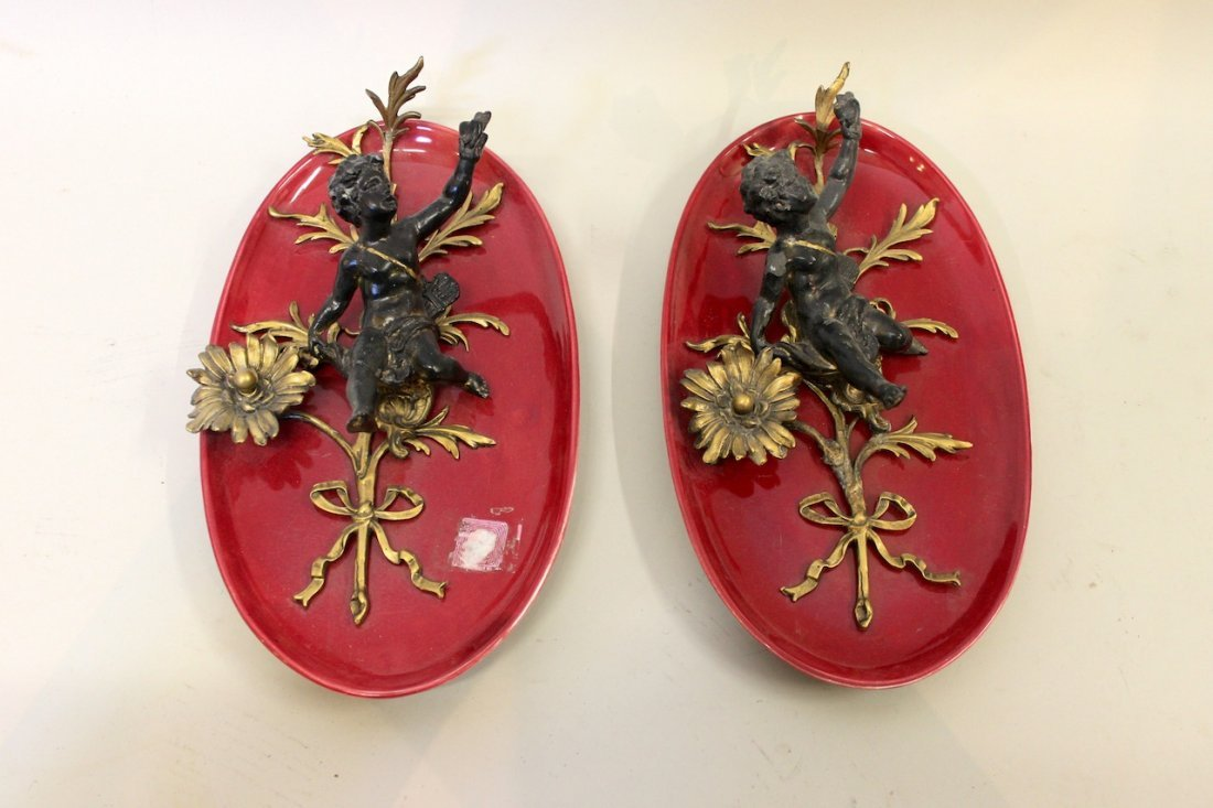 Pair of Cherub Wall Plaques
