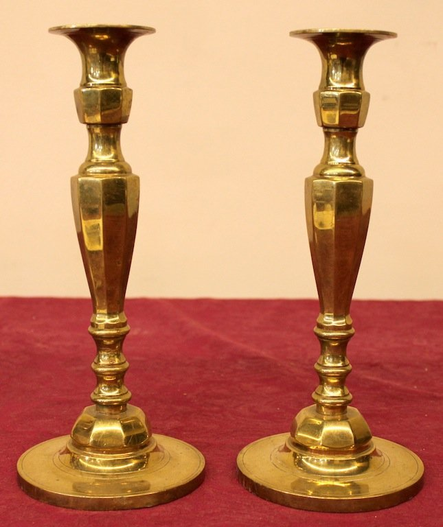 Pair of fine tapering English Brass Candlesticks