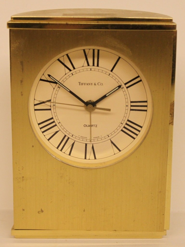 "Tiffany & Co. Brass Cased Clock  - 5 1/4"" T"