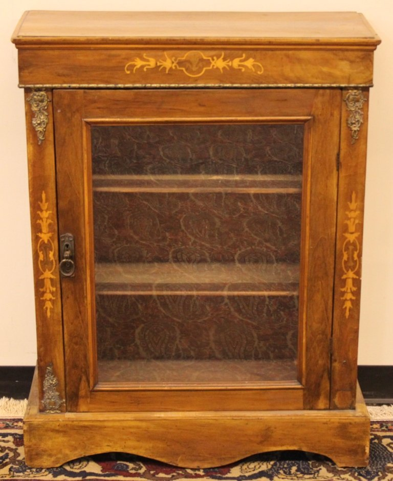 Regency Walnut Inlaid Cabinet w/ One (1) glass door - 3