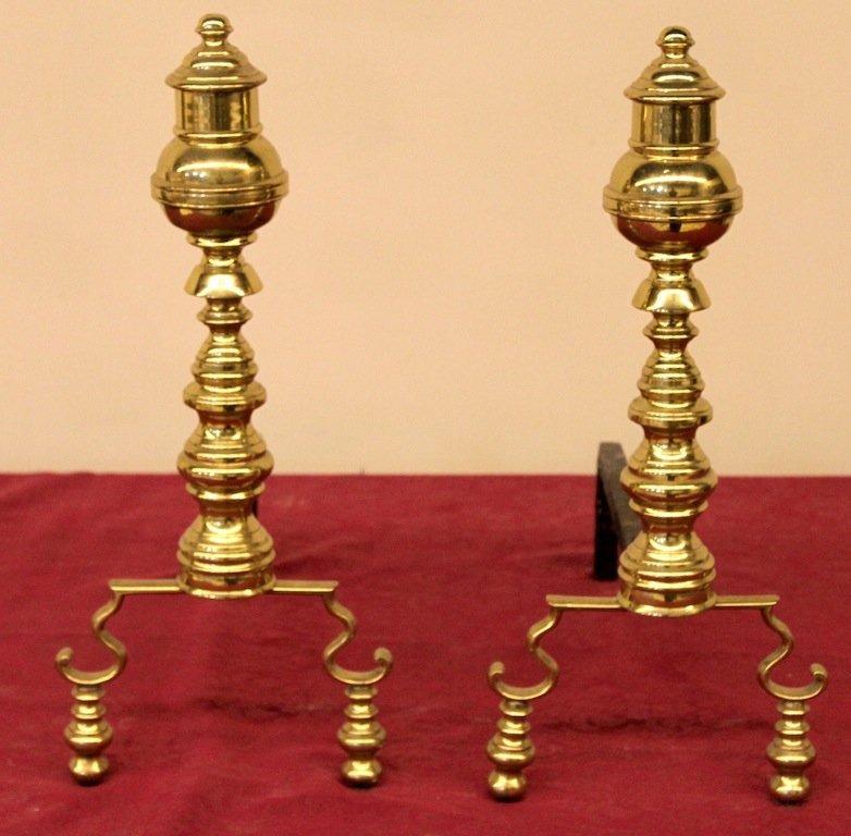 Period Brass Andirons - circa. 1780