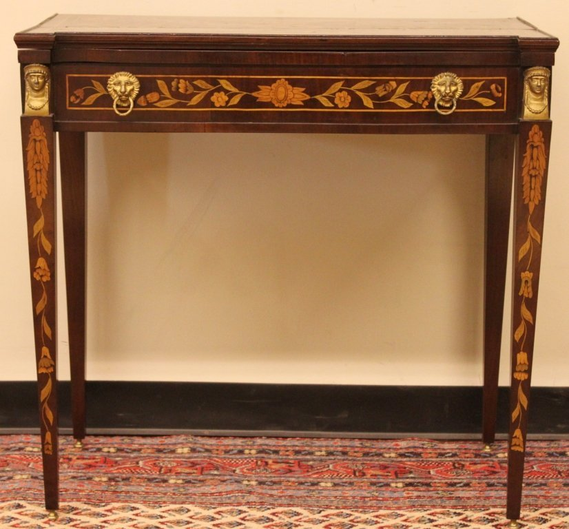 French Marquetry Inlaid Game Table