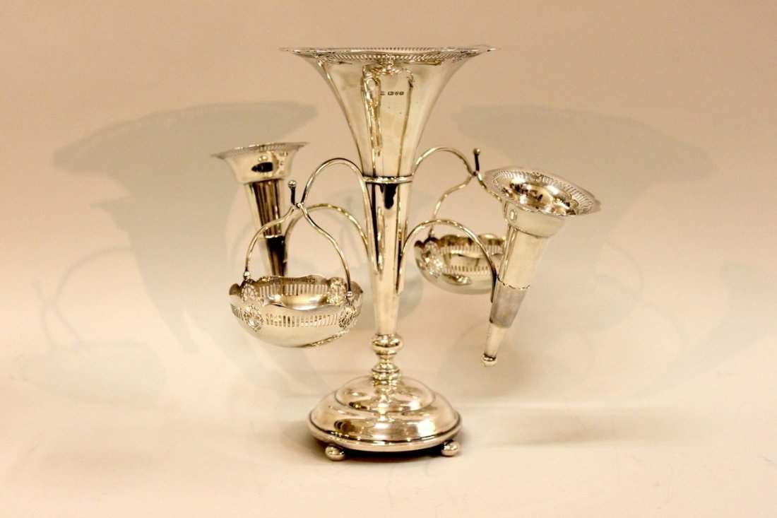"Sterling Epergne w/ Baskets & Sterling Flutes - 12"" x 1"