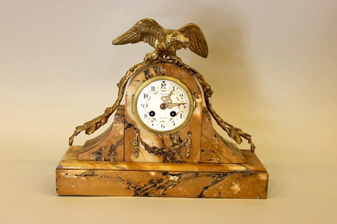 Sienna Marble Mantle Clock with Dore Eagle