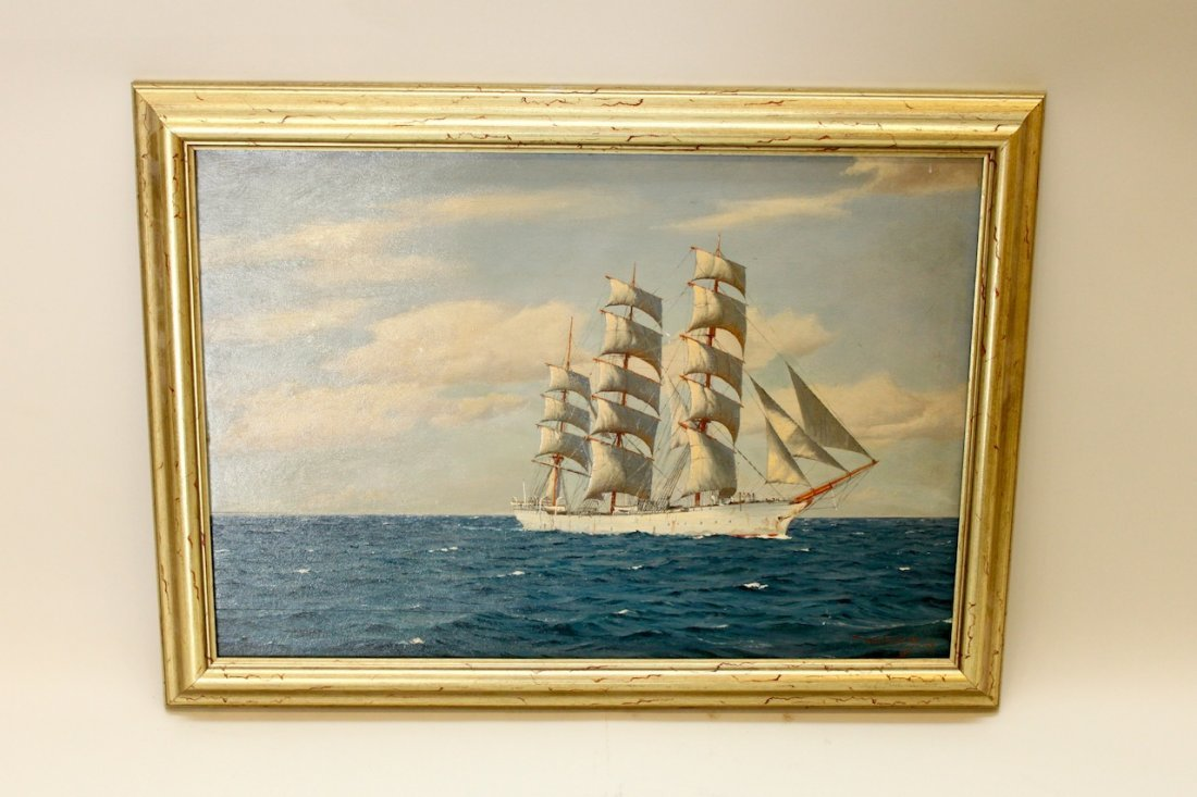H. G. Garcia Framed Oil on Board of Sailing Ship