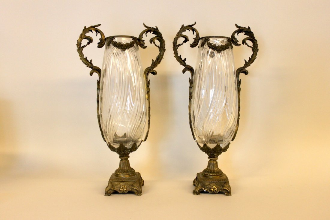 Pair of Ornate Bronze & Crystal Vases