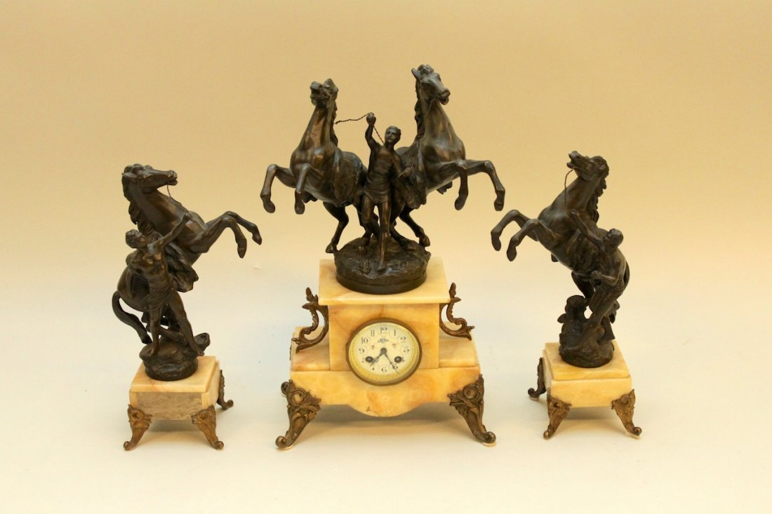 3 Piece Bronze & Marble Clock Set