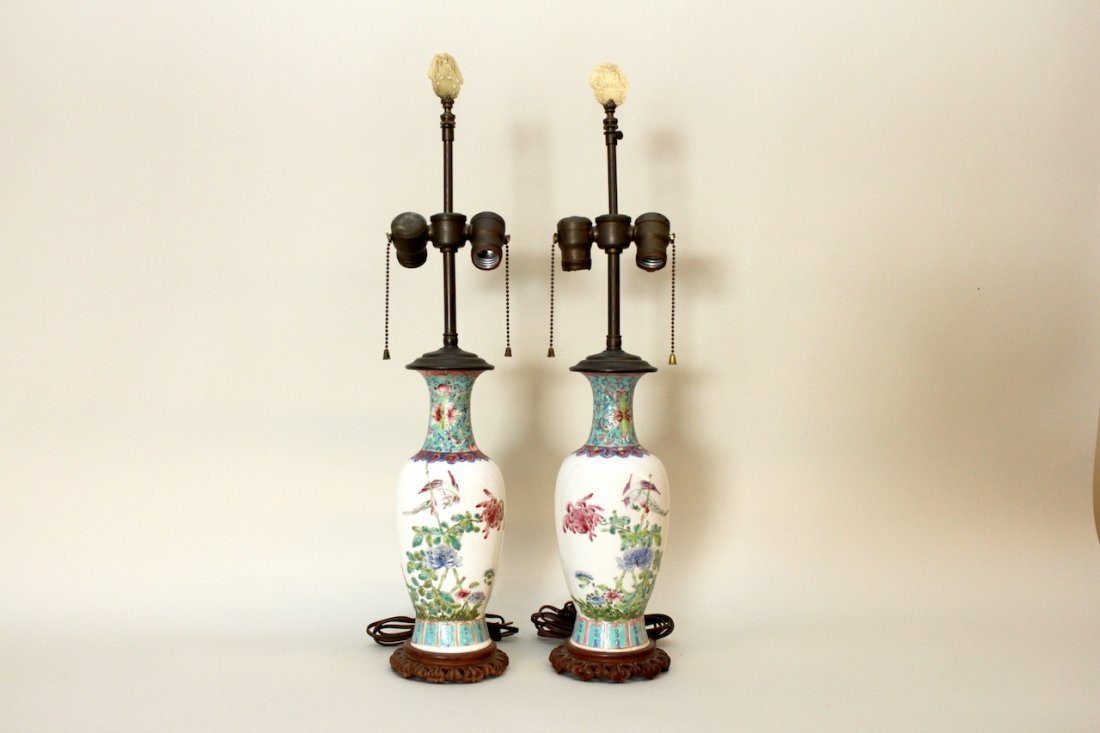 Pair of Chinese Porcelain Lamps