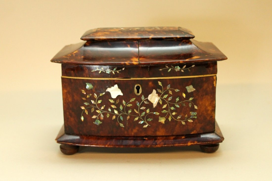 Tortoise Shell Tea Caddy with Mother of Pearl Inlay
