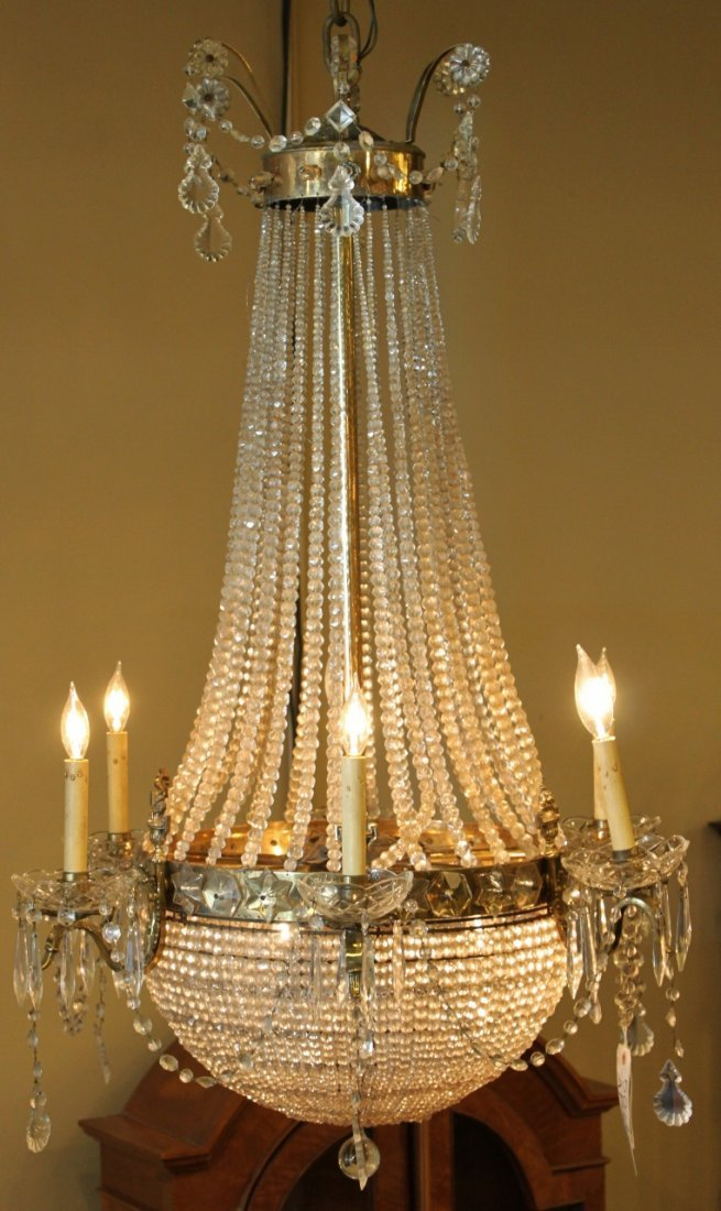French Six Light Beaded Crystal Basket Chandelier