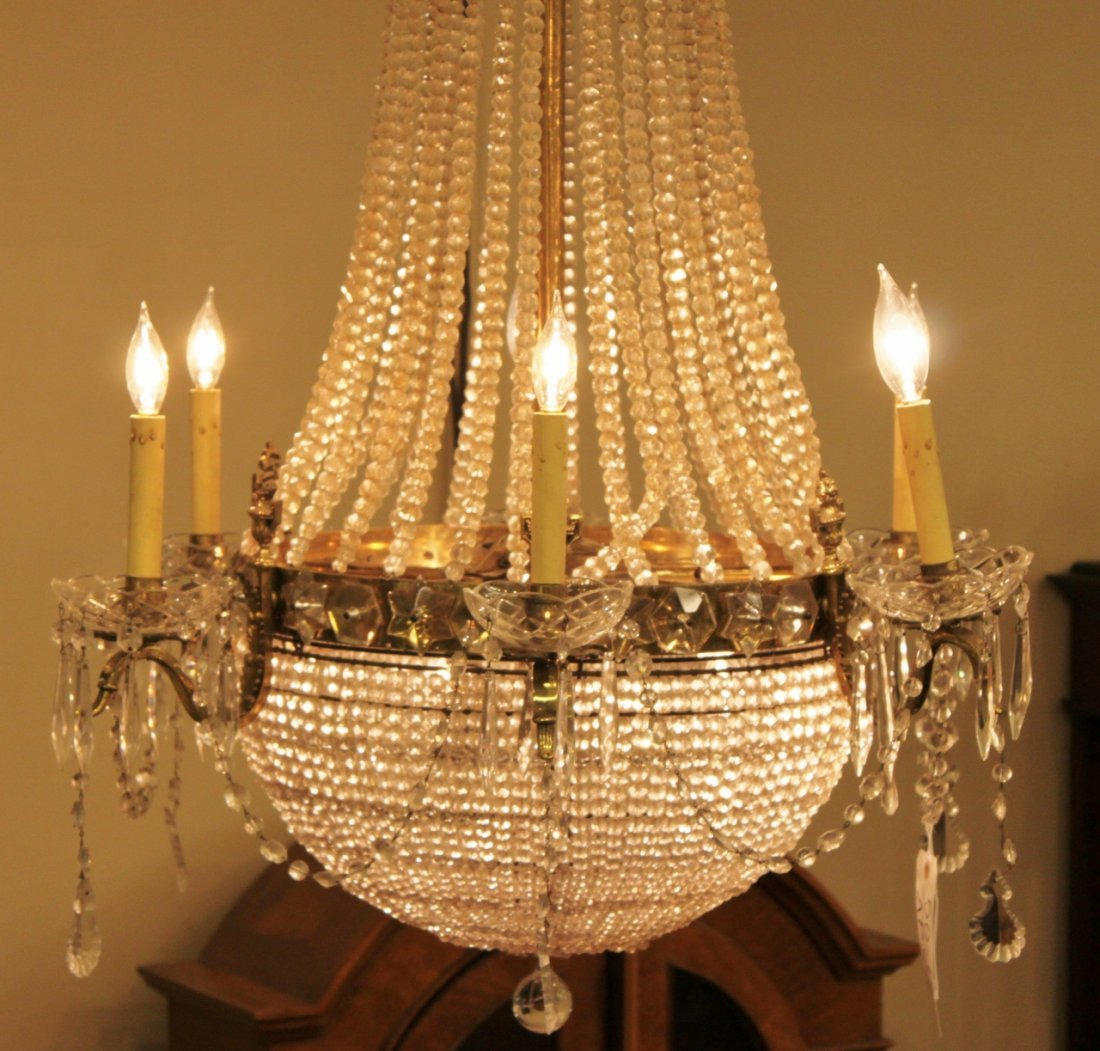 French Six Light Beaded Crystal Basket Chandelier - 2