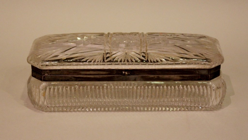 Cut Glass Glove/Dresser Box
