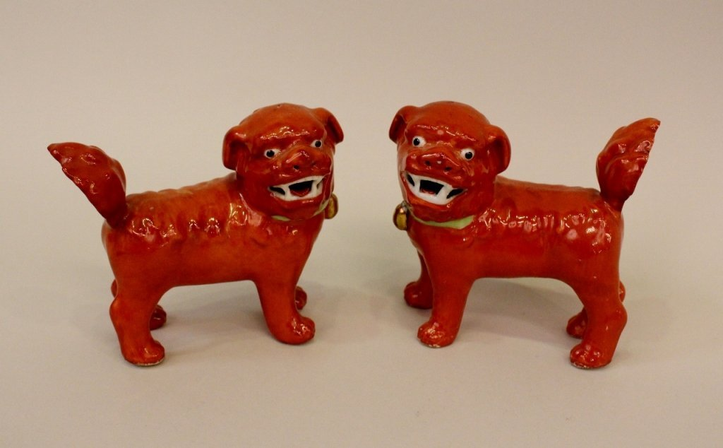 Small Pair of Chinese Porcelain Dogs