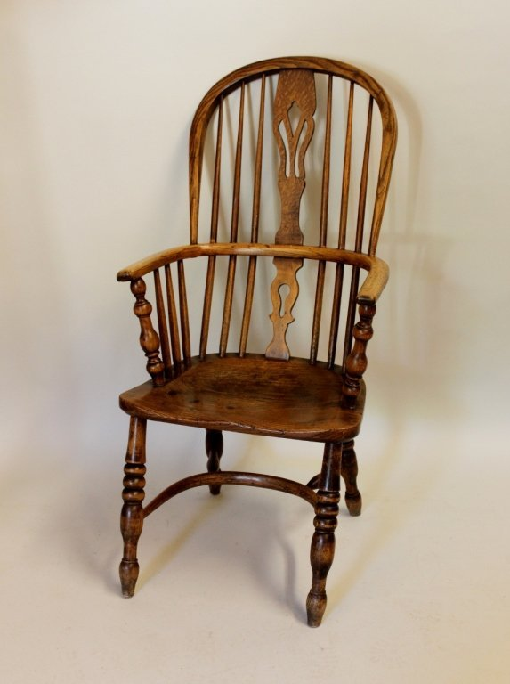 19th Century English Yew Wood & Oak Windsor Chair