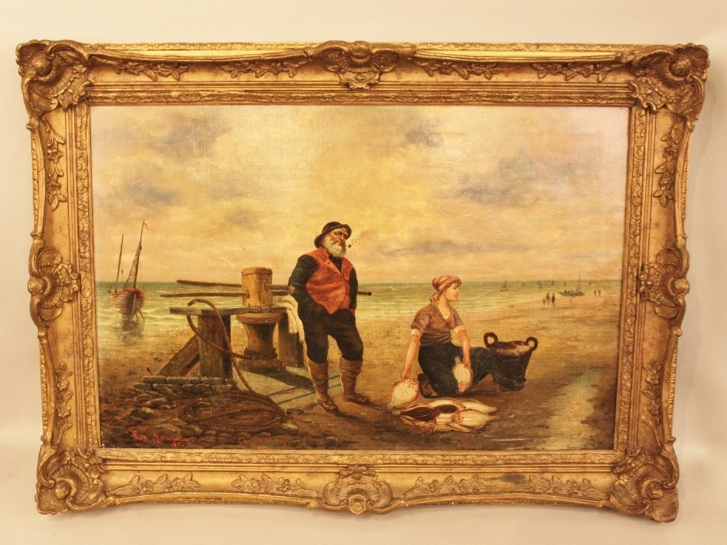 Gilt Framed 19th C. Oil on Canvas - Coastal Scene