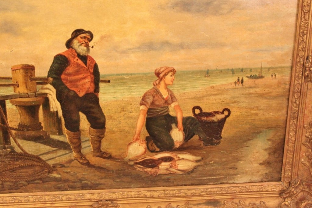 Gilt Framed 19th C. Oil on Canvas - Coastal Scene - 3