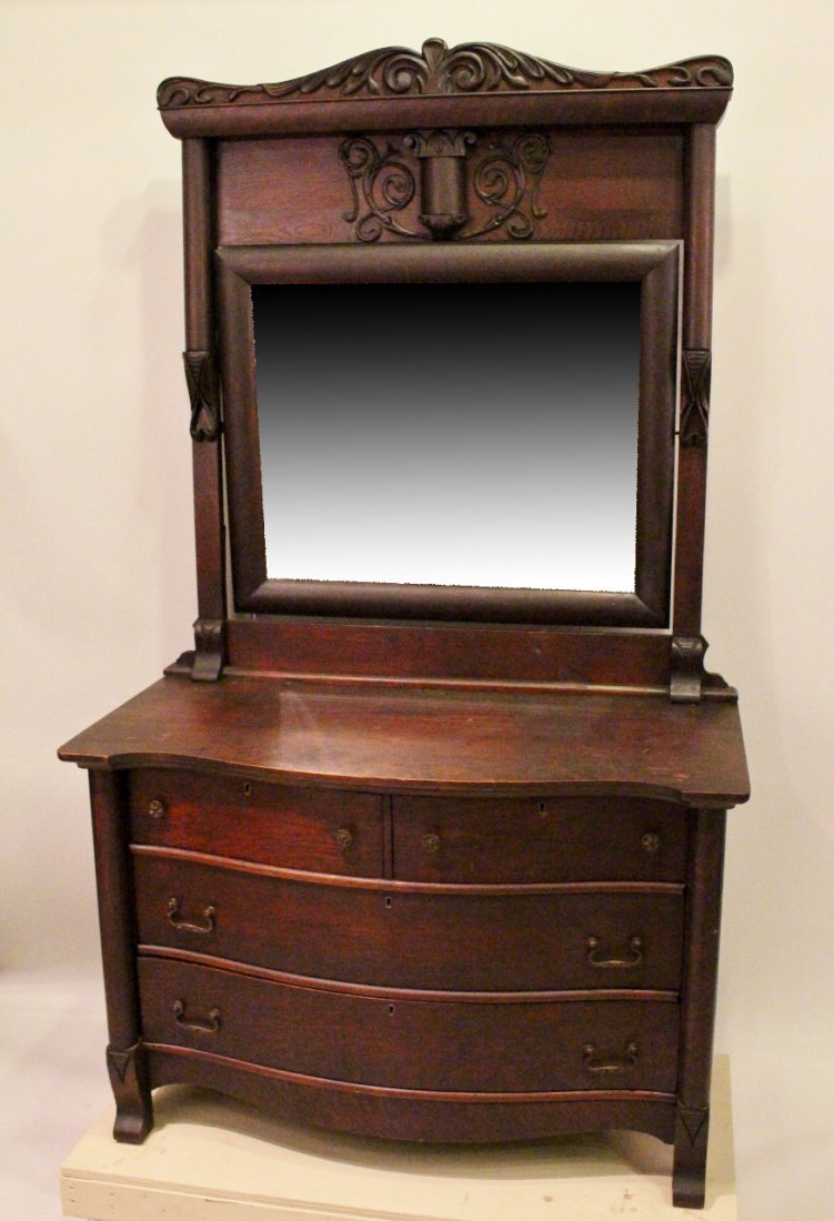 Late 19th C. American Oak Mirrorback Dresser