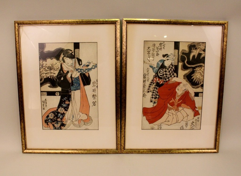 Pair of 19th C. Japanese Woodblock Prints