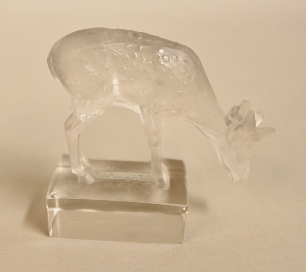 R. Lalique Glass Deer Figurine