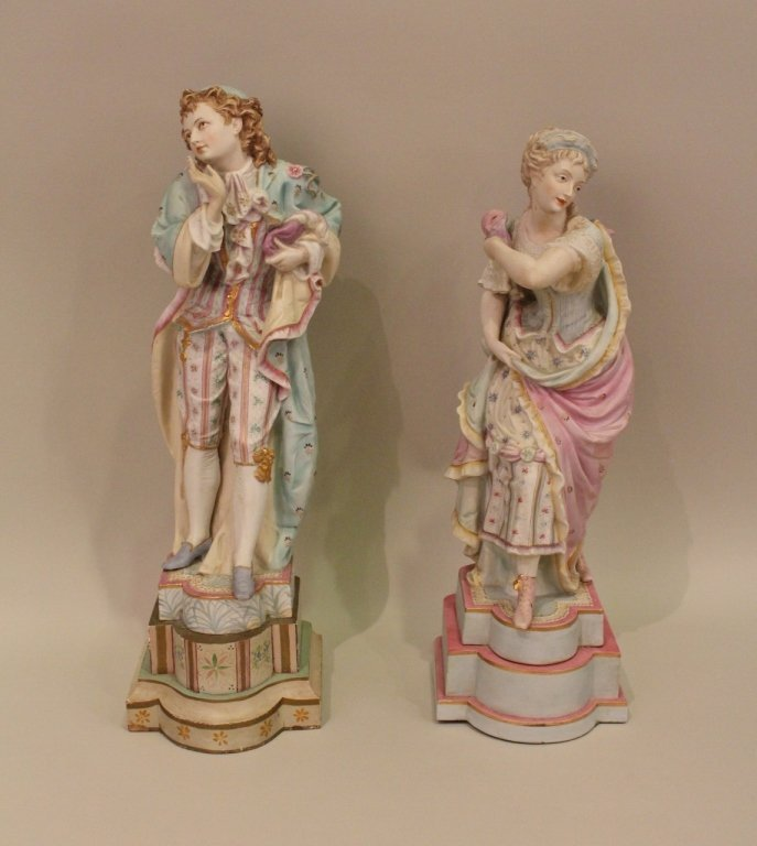 Two Late 19th C. Continental Bisque Figurines