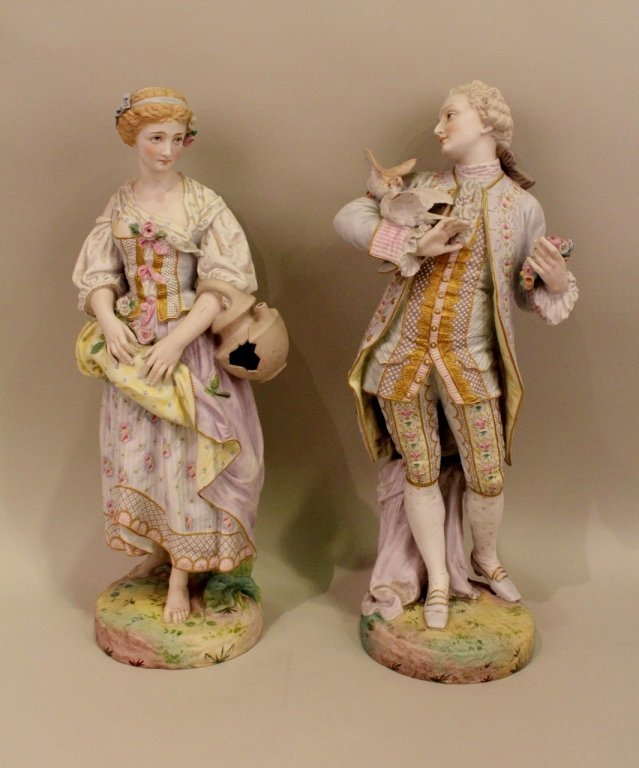 Large Pair of Late 19th C. Continental Bisque Figures