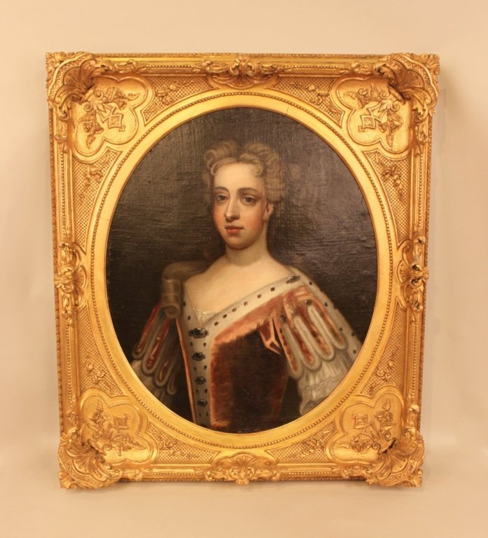 Gilt Framed English Portrait of Elegant Woman