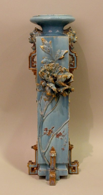 Large Blue Aesthetic Movement Victorian Pottery Vase