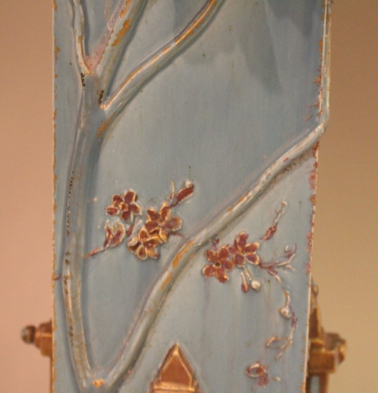 Large Blue Aesthetic Movement Victorian Pottery Vase - 4