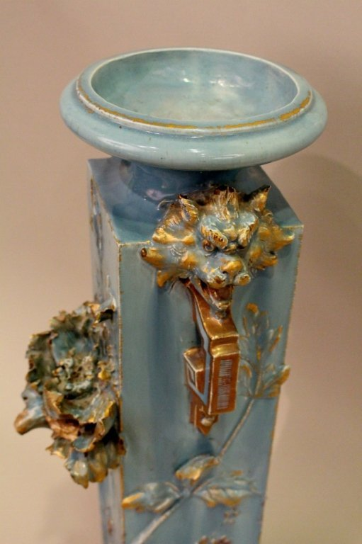 Large Blue Aesthetic Movement Victorian Pottery Vase - 5