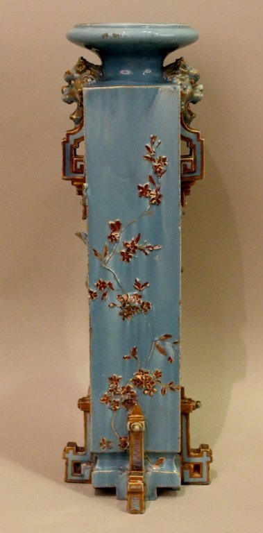 Large Blue Aesthetic Movement Victorian Pottery Vase - 6