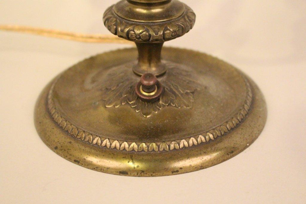 E. 20th C. Pair point Brass & Amber Glass Desk Lamp - 2