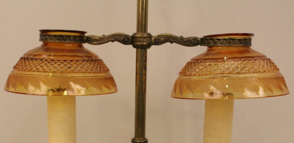 E. 20th C. Pair point Brass & Amber Glass Desk Lamp - 4