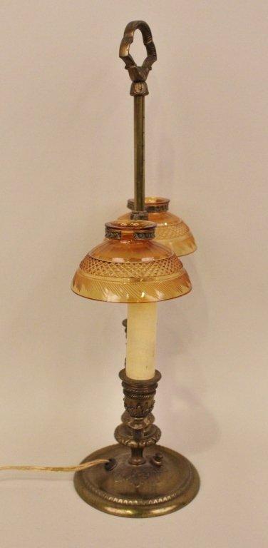 E. 20th C. Pair point Brass & Amber Glass Desk Lamp - 6