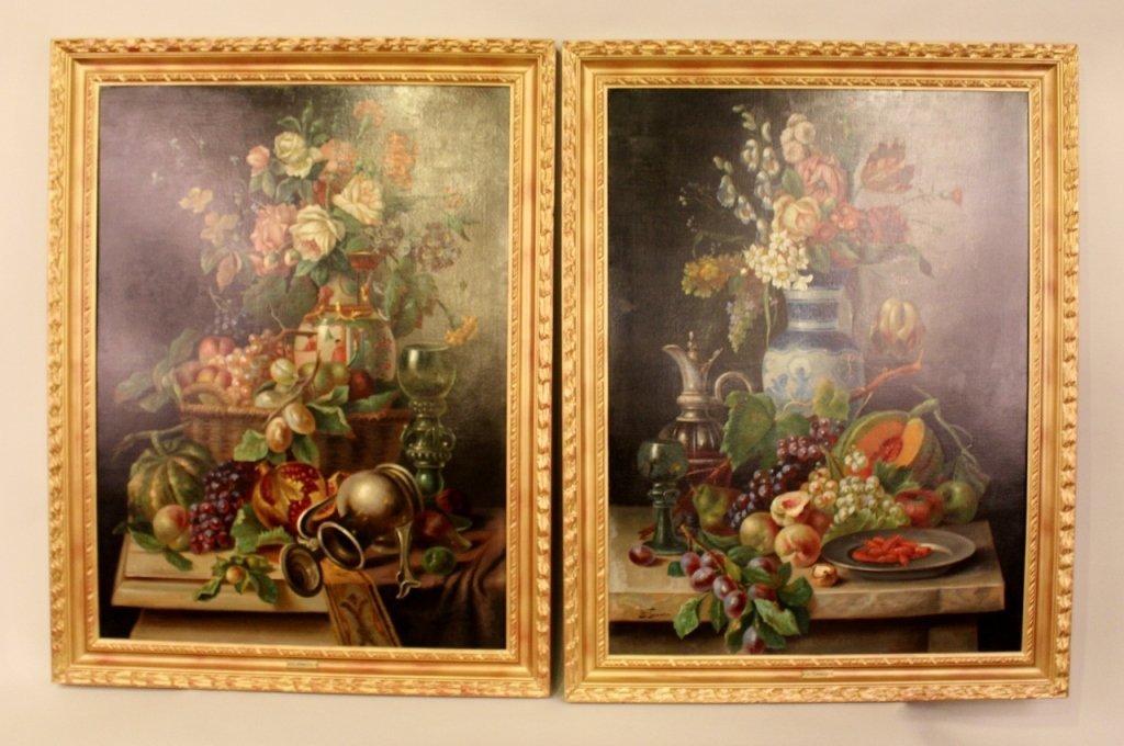 19th C. Italian Oil on Canvas Still Life Paintings-Pair