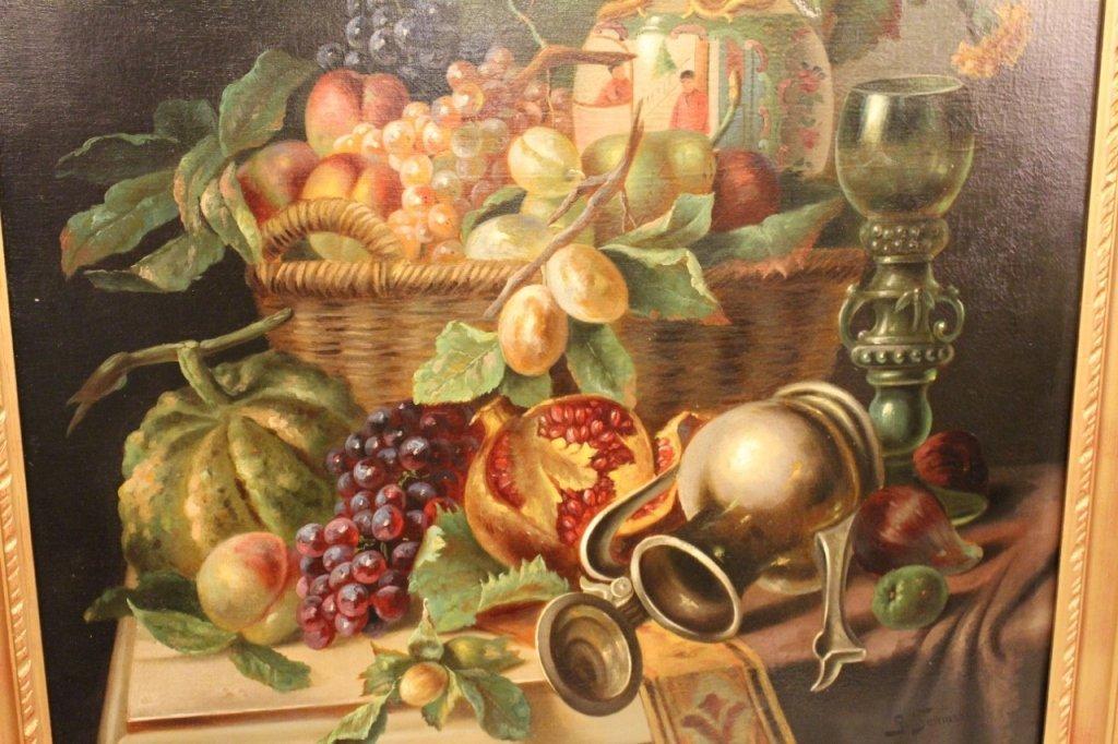19th C. Italian Oil on Canvas Still Life Paintings-Pair - 3