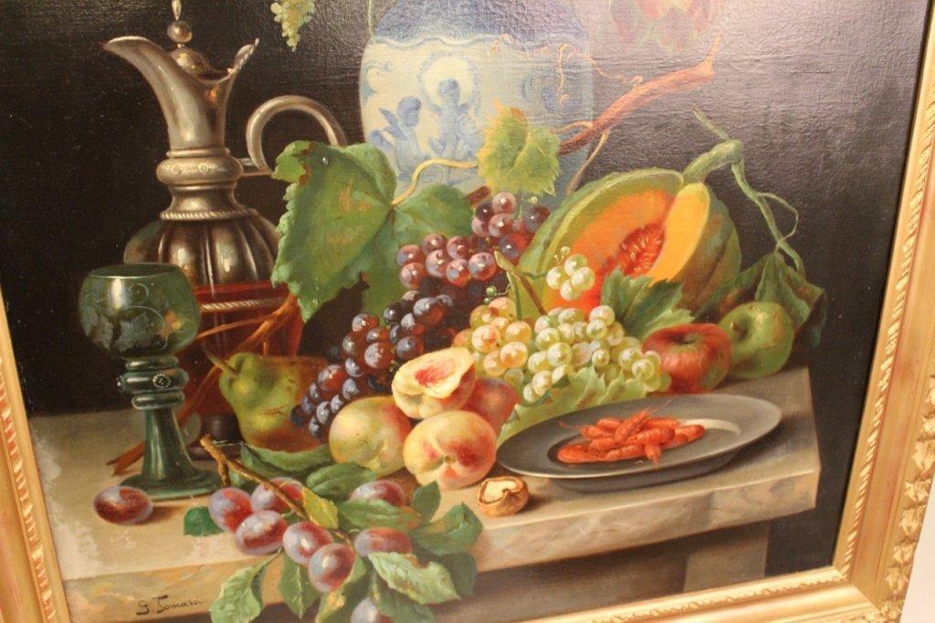 19th C. Italian Oil on Canvas Still Life Paintings-Pair - 5