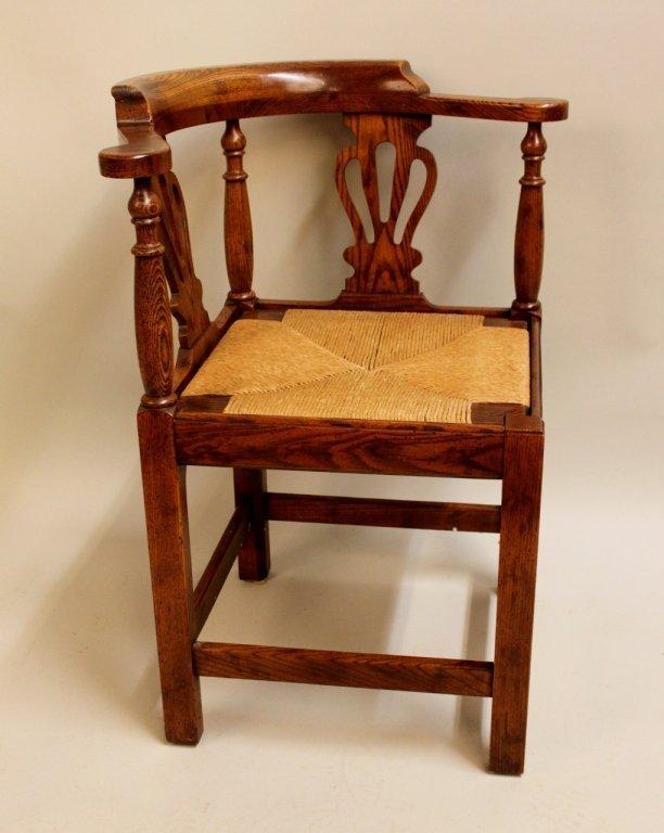 20th C. Oak Corner Chair by Randy Wilkerson